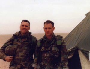 Mike with 1LT Silverman 1991 Rumallah, Iraq